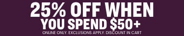 25% off clothing and fanshop when you spend $50