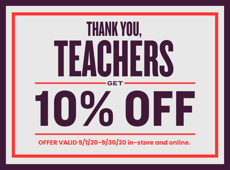 10% OFF discount to teachers and administrative staff