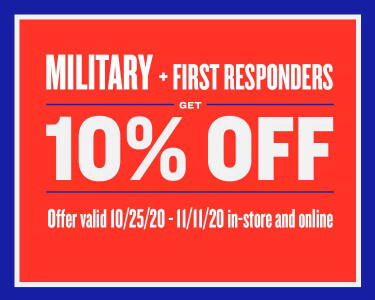 10% OFF discount to veterans and active military personnel
