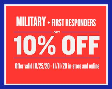 10% OFF discount to healthcare professionals, military and first responders